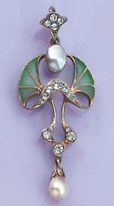 An Art Nouveau pendant,  the floral green plique-a-jour enamel, blister-pearl and paste pendant with imitation pearl drop mounted in silver, marked B.I, Made in England.