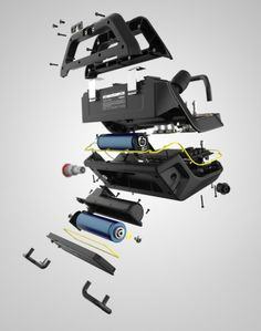 CooperBussmann Two-Way Construction Radio by Ryan Eder, via Behance Technical Illustration, Technical Drawing, Le Manoosh, Presentation Techniques, Exploded View, Architecture Design, Industrial Design Sketch, Plastic Design, Presentation Layout