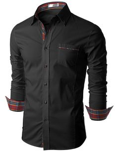 Doublju Mens Long Sleeve Button Down Dress Shirt (KMTSTL0160)