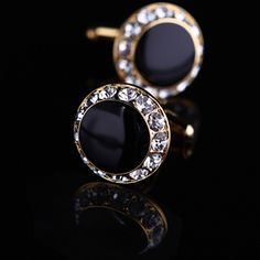 Black Onyx Centered Crystals Surrounding Cufflinks for $42.99