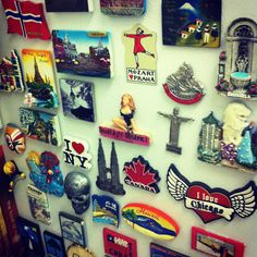 travel history told through magnets---I started collecting magnets from all our family travels many years ago---mine are displayed on a magnetic framed piece of sheet metal--- I lable the year on the back of each---a great conversation piece but I'm running out of space!!