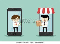 Business concept, Businessman buy something via smartphone, online shopping concept. Vector illustration.