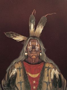 Native American Art Prints. Kirby Sattler Artist. Mini paper prints from Paintings of Native American Indian Portraits.