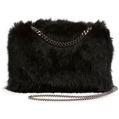 Stella Mccartney Faux-Fur Chain Clutch Bag ($1,240) ❤ liked on Polyvore featuring bags, handbags, clutches, black, handbags clutches, stella mccartney, chain strap purse, stella mccartney handbags, stella mccartney purse and kiss-lock handbags