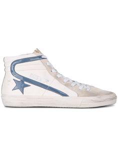 Golden Goose Deluxe Brand White Blue Slide hi top sneakers