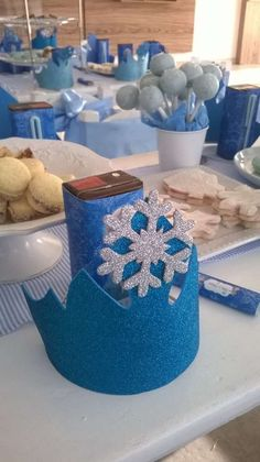 Place settings at a Frozen birthday party! See more party planning ideas at CatchMyParty.com!