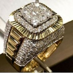 Morning Motivation💪💪💪 Gold Rolex Style Ring With carat Diamonds 💦💦💦 Call us today o stop by only… Mens Gold Rings, 14k Gold Ring, Rings For Men, Gold Rolex, Wedding Men, Luxury Wedding, Luxury Jewelry, Custom Jewelry, Vintage Jewelry