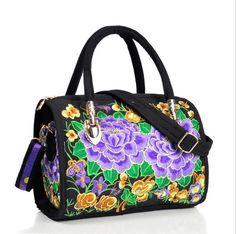 Vintage Embroidery Women Bag Canvas Flower Embroidered Women Handbag Boho Mandala Shoulder Messenger Bag For Women Girls