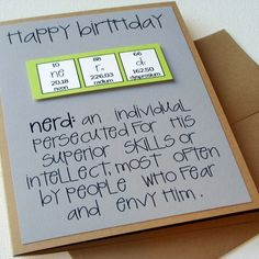 Chemistry Periodic Table Birthday Nerd Card - Nerdilicious Science Teacher Green and Grey