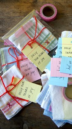 "Handkerchief present. Idea from ingthings: ""Only for tears of joy"". Christmas Stocking Stuffers, Christmas Stockings, Tears Of Joy, Worlds Of Fun, Creative Gifts, Little Gifts, Teacher Gifts, Diy Gifts, House Warming"