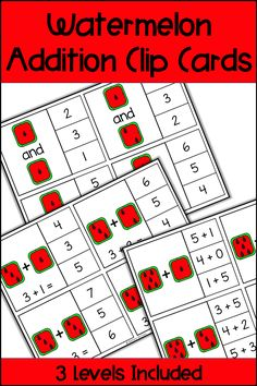 These Watermelon Addition Clip Cards provide a fun and differentiated math center for your students! Your students can use dice and math equations to practice addition facts. There are 3 levels of cards provided to help you differentiate for your students needs, as well as many different options for recording sheets. Use in math centers or small groups for your Kindergarten, First Grade, or Second Grade students. Common Core standards are included as well as a black and white printable version.