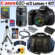 Canon EOS 60D 18 MP CMOS Digital SLR Camera with EF-S 18-55mm f/3.5-5.6 IS II Zoom Lens & EF 75-300mm f/4-5.6 III Telephoto Zoom Lens + 16GB Deluxe Accessory Kit