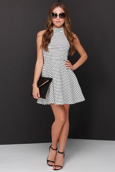 Mink Pink Find Me Guilty Black and Ivory Striped Halter Dress $59 at Lulus.com!