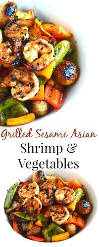 Grilled Sesame Asian Shrimp and Vegetables Grilled Sesame Asian Shrimp and Vegetables takes 20 minutes to make and is marinated in a delicious tangy marinade and filled with vegetables for a perfect meal! Grilling Recipes, Fish Recipes, Seafood Recipes, Asian Recipes, Dinner Recipes, Cooking Recipes, Healthy Grilling, Vegetarian Grilling, Barbecue Recipes