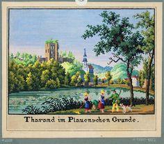 Landscape with figures Stickmuster einer Ansicht von Tharandt mit Blick über den Schlossteich auf die Burgruine und die Berg- und Stadtkirche