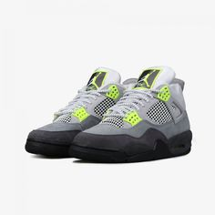 Detailed Look at the 'Neon' Air Jordan 4 Retro Air Jordan Retro, Air Jordan 3, Sneakers Mode, Sneakers Fashion, Nike Sneakers, Fashion Outfits, Air Max 95 Neon, Nike Images, Nike Air
