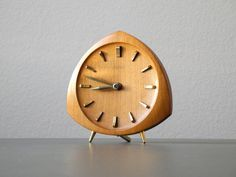 Beautiful little rare original 50s Junghans clock with teak housing