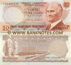 Turkey 20 Lira Obverse: Effigy of President Mustafa Kemal Atatürk… Turkish Lira, Turkish Men, Effigy, Coins, Turkey, Stamp, Silver, Gold, The World