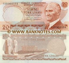 Turkey 20 Lira (1974) Obverse: Effigy of President Mustafa Kemal Atatürk (1881-1938); stylised flower. Reverse: Anitkabir, Mausoleum of Mustafa Kemal Atatürk and Turkish Men Sculpture at the Road of Lions entry in Ankara. Watermark: Head of Mustafa Kemal Atatürk in 1/2 profile. Printer: DBM-A. Date of Issue: 30 May 1983. Date of Withdrawal: 21 August 1987. End of Legal Circulation: 21 August 1988. End of Redemption Period: 21 August 1997. Date of Loss of Value: 22 August 1997.
