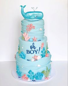 Baby Shower Cakes For Boys, Baby Shower Decorations For Boys, Baby Boy Shower, Nautical Baby Shower Cakes, Baby Birthday Themes, Whale Birthday, Birthday Cakes, Ocean Baby Showers, Ocean Cakes