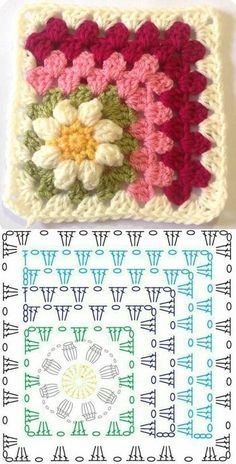 Copy and Create: Crochet Square Graphics ⋆ Front Facing .- Copie e crie: Gráficos de quadrados de crochê ⋆ De Frente Para O Mar – – Copy and create: Crochet square graphics ⋆ Facing the Sea – – - Granny Square Crochet Pattern, Crochet Blocks, Crochet Diagram, Crochet Squares, Crochet Blanket Patterns, Crochet Motif, Crochet Designs, Crochet Stitches, Knitting Patterns