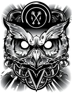 Bad ass crazy looking Owl Vector Illustrated Design.