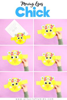 A super fun and interactive Spring craft for kids. This moving eyes chick craft is easy and fun to make, great for story telling and inspiring play. The downloadable template and simple shapes make this chick craft ideal for pre-schoolers and school early years to enjoy (mostly) independently. And it really helps to hone their fine motor skills as well, as they practice cutting, sticking, coloring and threading the eyes.