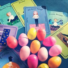 Easter Yoga theme using plastic eggs and spring related poses.