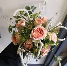 Simple and wild with peach roses, amaranthus and eucalyptus made by our talented Ranelagh florists for an Irish country wedding. Wedding Flowers, Wedding Day, Amaranthus, Florists, Bridal Bouquets, Special Day, Irish, Floral Wreath, Reception