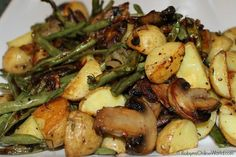 Oven Roasted Potatoes, Green Beans, Mushrooms and Onions with Thyme and Garlic  |  Robyns.World