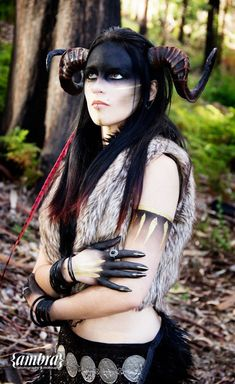 No matter how fabulous your Halloween costume is, it's just not going to look right without accessories and props. These are what make Halloween costumes more realistic, after all. Demon Costume, Costume Makeup, Faun Makeup, Succubus Costume, Elven Makeup, Dark Fairy Costume, Horns Costume, Demon Makeup, Makeup Art