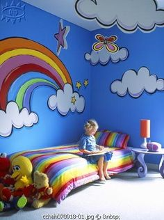 36 Best Ideas For Wall Drawing Kids Room Awesome Bedroom Themes, Girls Bedroom, Bedroom Ideas, Bedrooms, Rainbow Bedroom, Rainbow Wall, Kids Rainbow, Wall Drawing, Kids Decor