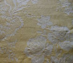 Antique Vintage French Yellow Floral Roses Cotton Linen Damask Ticking Fabric