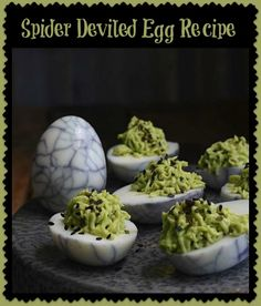 Creepy and fun halloween cupcakes food network pinterest spider deviled egg recipe mama bees freebies forumfinder Gallery