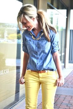 Chambray + yellow pants = great spring look