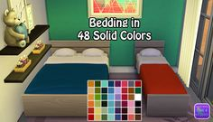 The Sims 4   annachibi Single & OM Double Bedding Mattress in 48 Solid Colors for separate bed frames   Sims 4 Studio buy mode new objects bed room