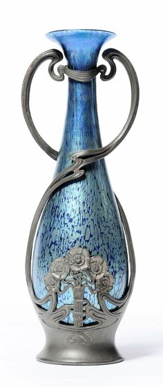 Loetz & Juventa: 1901 - Mounted Glass Vase, clear blue, splashed with turquoise blue iridescence, in Juventa pewter mount - Tennants Auctioneers - Art Nouveau