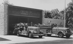 Philadelphia Fire Department, PA - Engine 35 & Ladder 25  Ridge Avenue & Midvale Avenue, City of Philadelphia, Pennsylvania. This photo was taken in the late 1960's. Apparatus shown is a Peter Pirsch TDA Aerial and a commercial chassis GMC Pumper.   Notice a dog sitting upright on top of Engine just behind the booster reel.