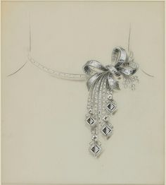 Van Cleef & Arpels - Attributed to René-Sim Lacaze, Study for an important necklace, 1935-41. © Sotheby's