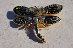 Steampunk Gothic Dragonfly Brooch Pin by CulturalDiversion
