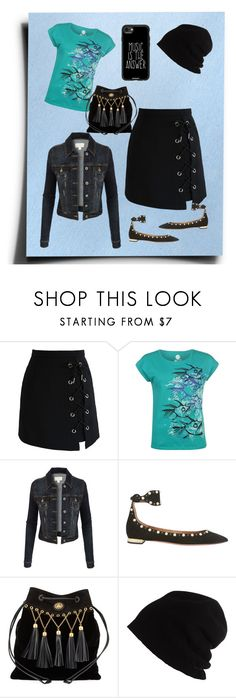 """""""Back To School"""" by jeanstapley ❤ liked on Polyvore featuring Chicwish, Hot Tuna, LE3NO, Aquazzura, Miu Miu, SCHA and Casetify"""