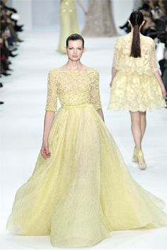 Elie Saab - Haute Couture Spring Summer 2012 - Vogue.it - #yellow #pastel #couture