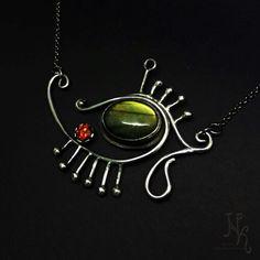 """Silver pendant """"eye of Gor""""  labradorite and zircon.  Sold"""