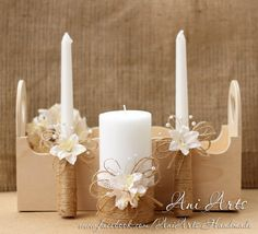 Rustic Wedding Unity Candles Burlap and Lace Unity Candle Set