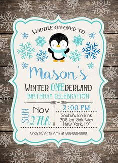 Penguin Winter ONEderland Invitation, Wood First Birthday Invite, Penguin Invitation, Winter ONEderland, Rustic, Snow, First Birthday All information color, text and font can be changed and customized for you. This listing is for a 4x6 or 5x7 Birthday Invitation digital file.