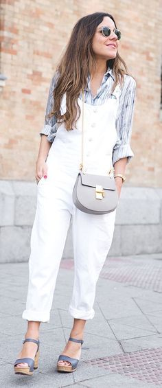 White Overalls Casual Streetstyle by Peeptoes~~~I love it all!~~~
