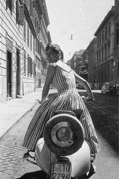 "modbrother: ""Everything's fine on a Vespa… "" Vespa Girl, Scooter Girl, Vespa Lambretta, Peugeot, Statue, Retro, Scooters, 1950s, Spirit"