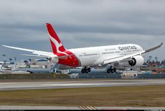 Qantas' Dreamliner about to touch down after its first flight. - Photo taken at Everett - Snohomish County / Paine Field (PAE / KPAE) in Washington, USA on January Qantas Airlines, Best Airlines, Paine Field, Australian Airlines, Boeing 787 9 Dreamliner, Boeing Aircraft, Air Photo, Air New Zealand, World Pictures