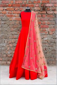 Red wedding anarkali gown, indian bridal trousseau red embroidered suit, red salwar kameez suit with contrast nude dupatta with embroidery - - Indian Gowns, Indian Attire, Indian Ethnic Wear, Pakistani Dresses, Indian Outfits, Ethnic Dress, Indian Style, Silk Anarkali Suits, Anarkali Gown