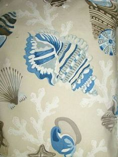 """Coral Beach Sand    P. Kaufmann Fabric 100% cotton fine line twill coral and shell print. 27"""" repeat. 54"""" wide"""